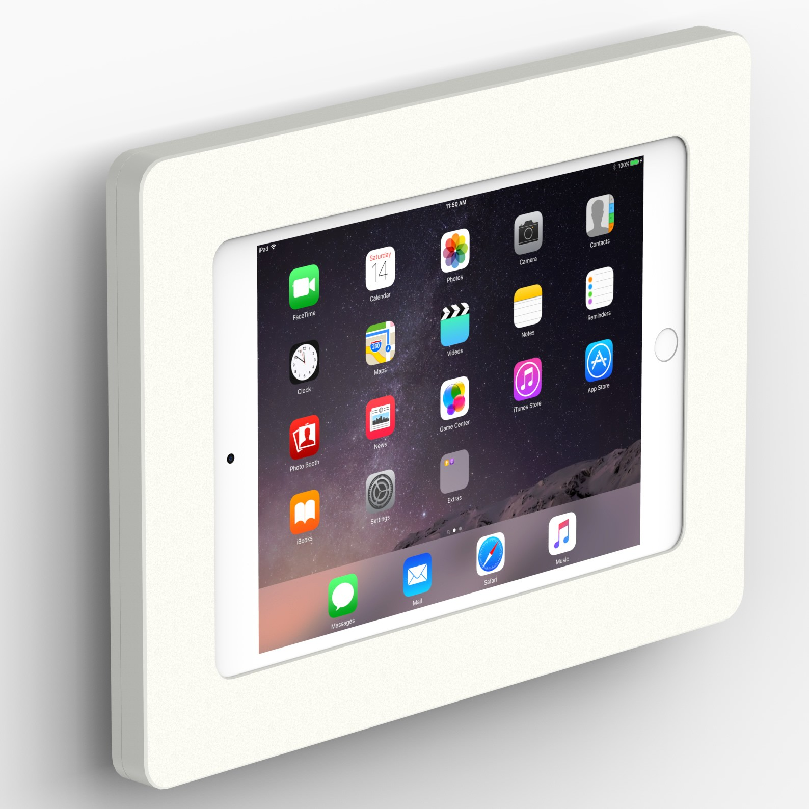 Fixed Slim Wall Ipad Mini 1 2 3 Tablet Mount White