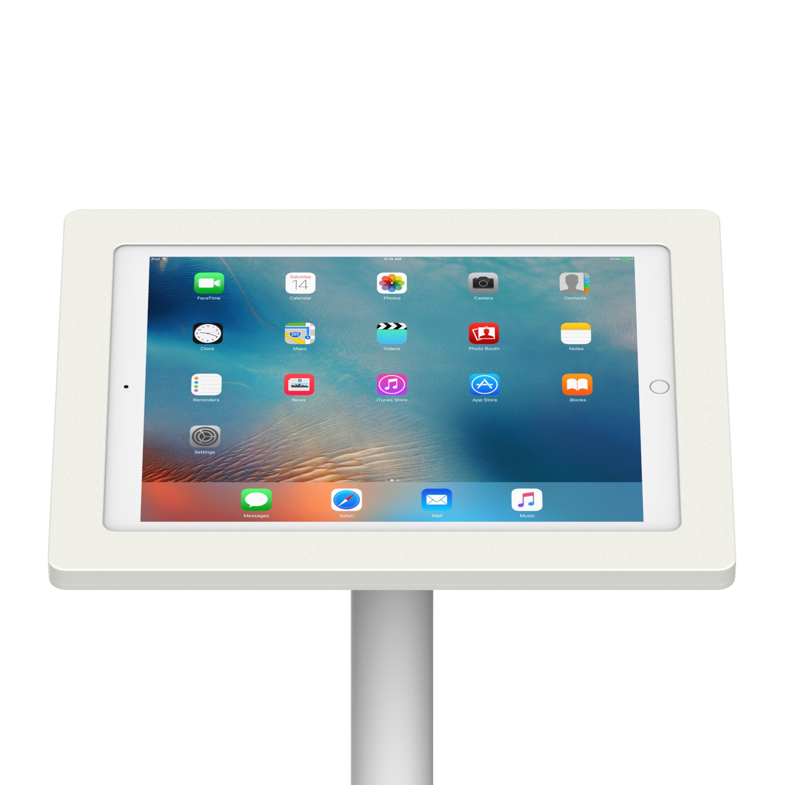 12 9 Inch Ipad Pro White Enclosure W Fixed Floor Stand