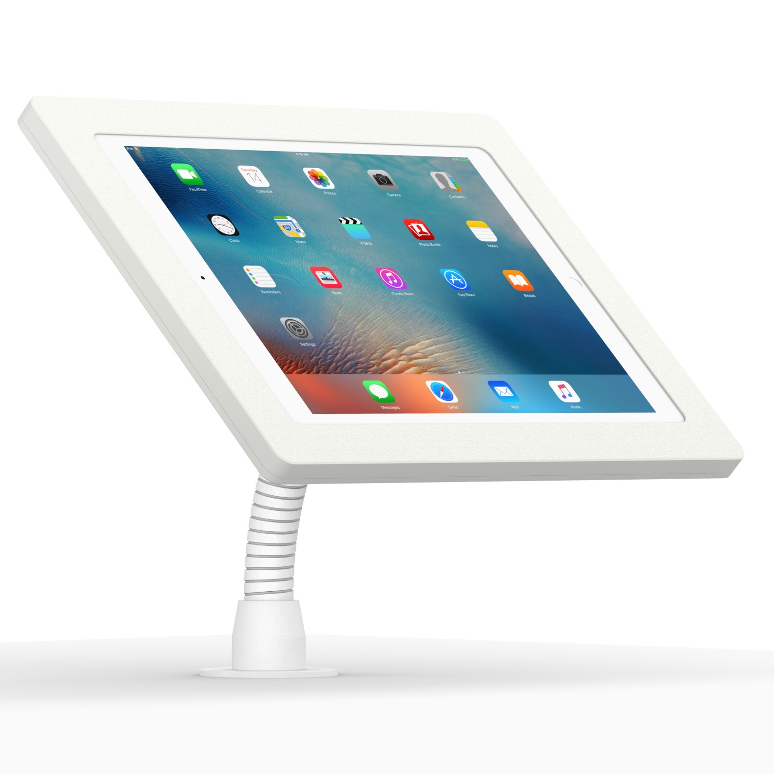12 9 Inch Ipad Pro White Enclosure W Flexible Desk Wall