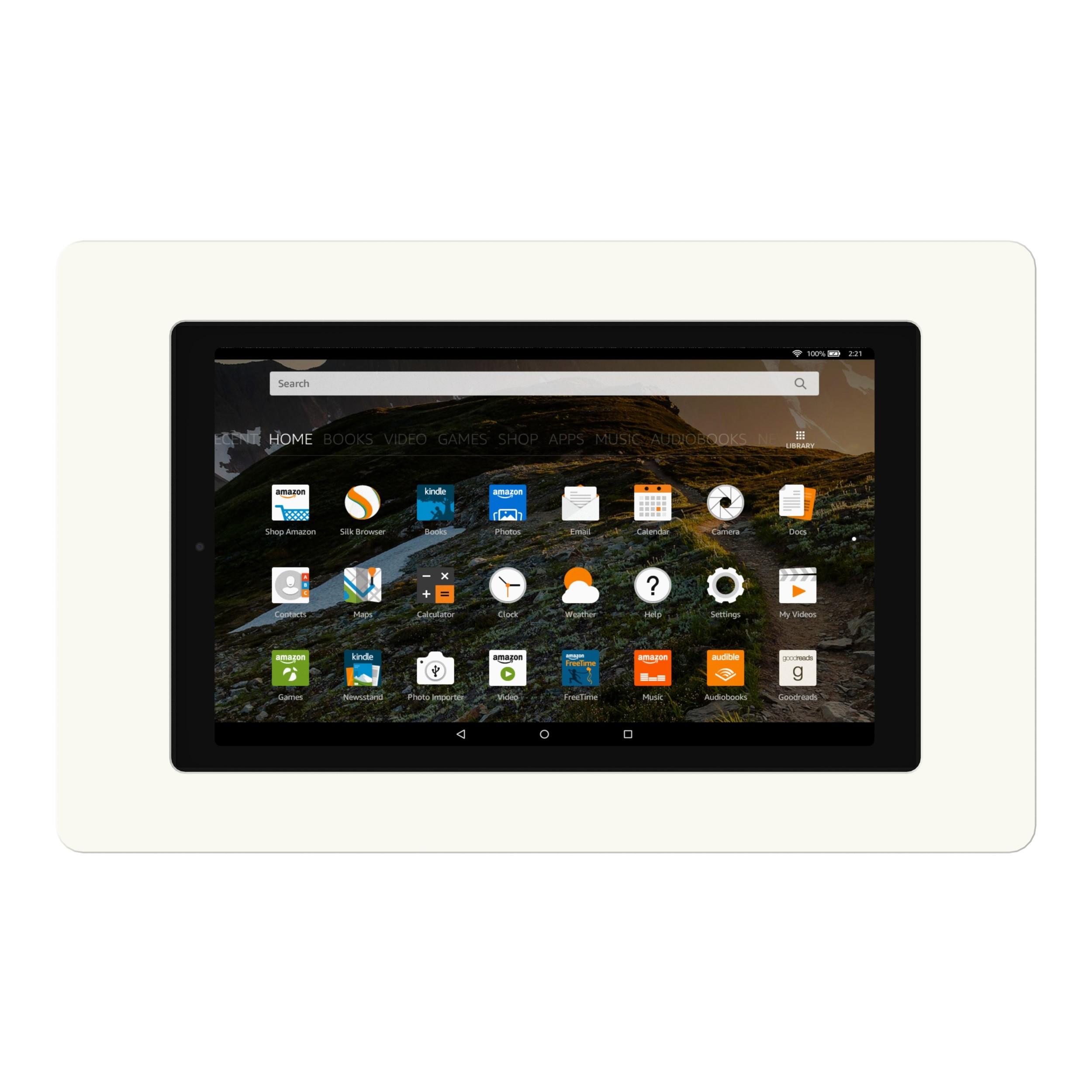 VidaMount On-Wall Tablet Mount - Amazon Fire HD10 [7th Gen / 2017] - White