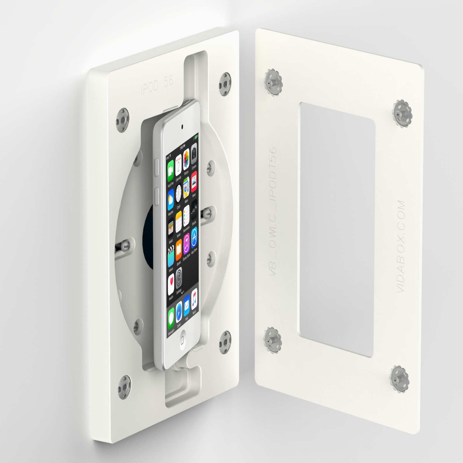 Ipod Touch Mounted Onto Us Gangbox Vidamount On Wall Enclosure Mount White