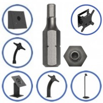 VESA 100 Pattern, Fixed Tilted Surface Mounts, Tilting Wall Mount Screws : Tamper Resistant Bit
