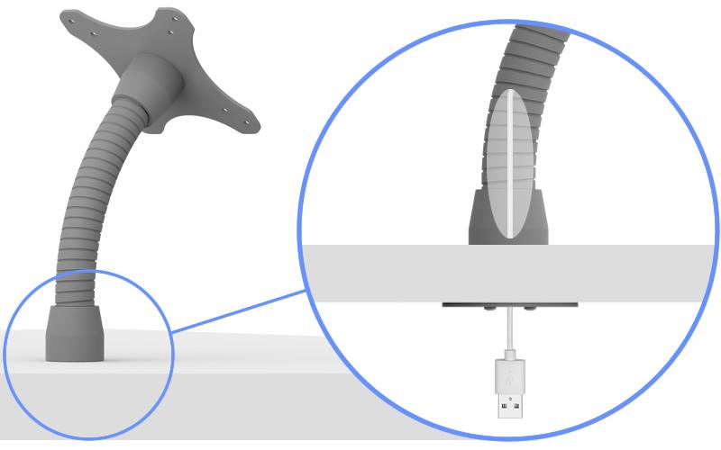 Flexible VESA Surface Mount - Wire Management